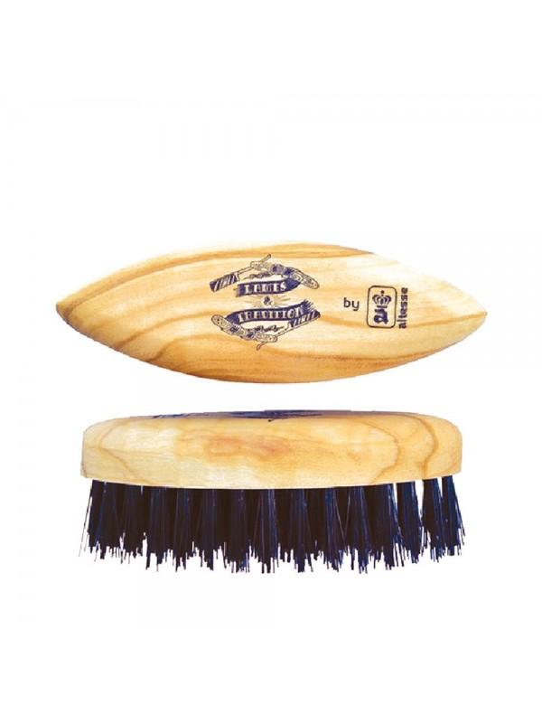 Brosse à barbe lissoir de poche en poil de sanglier - Lames & Tradition