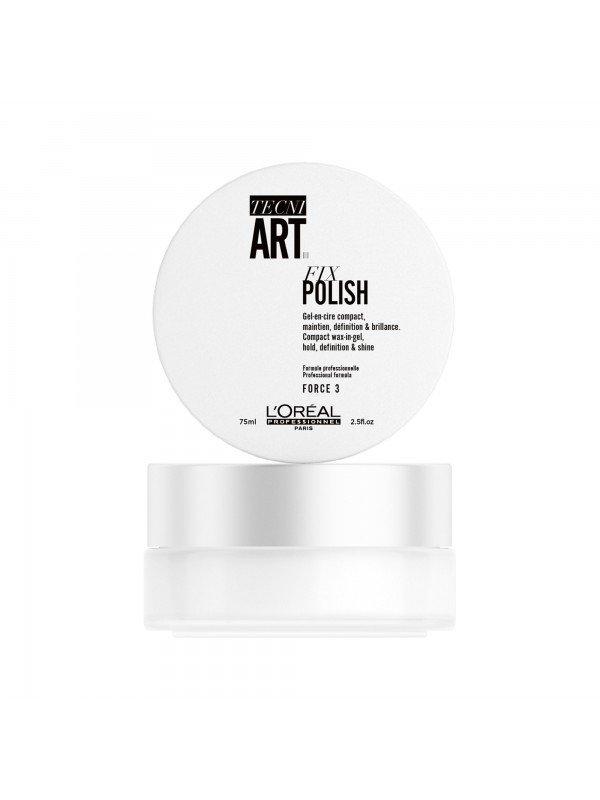 FIX POLISH, Gel-en-cire compact, maintien, définition & brillance, TECNI ART., 75 ml - L'Oréal Professionnel